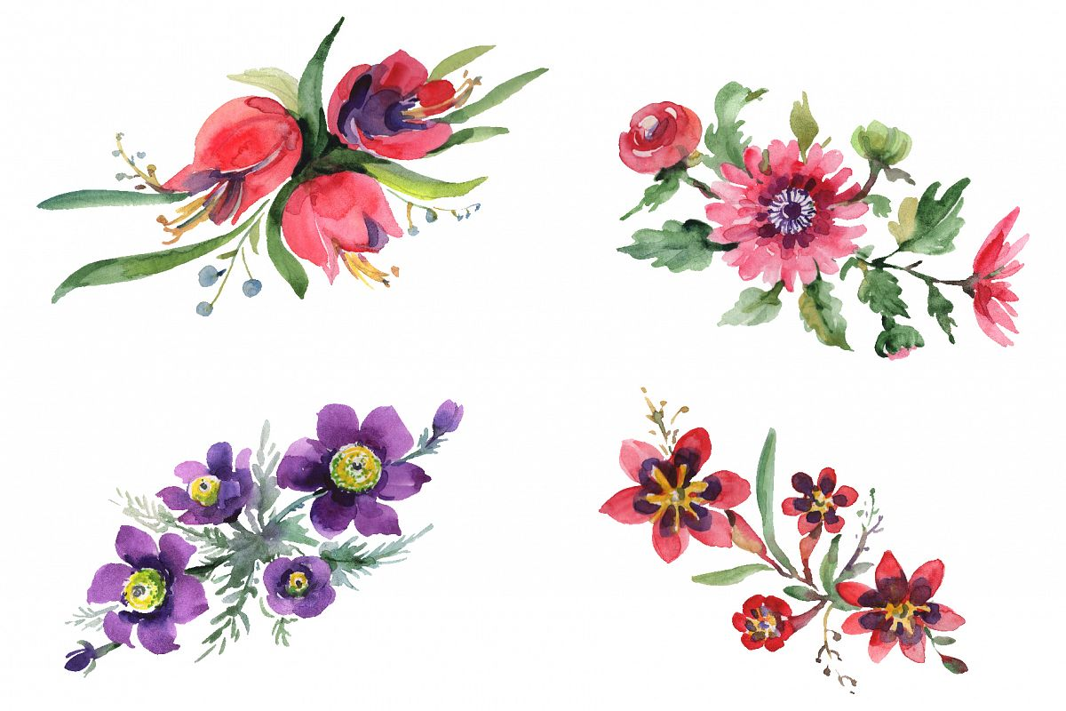 Bouquet April sun Watercolor png.