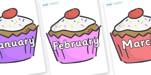 Months of the Year on Cupcakes.
