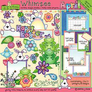 Whimsical springtime clip art and borders by DJ Inkers.