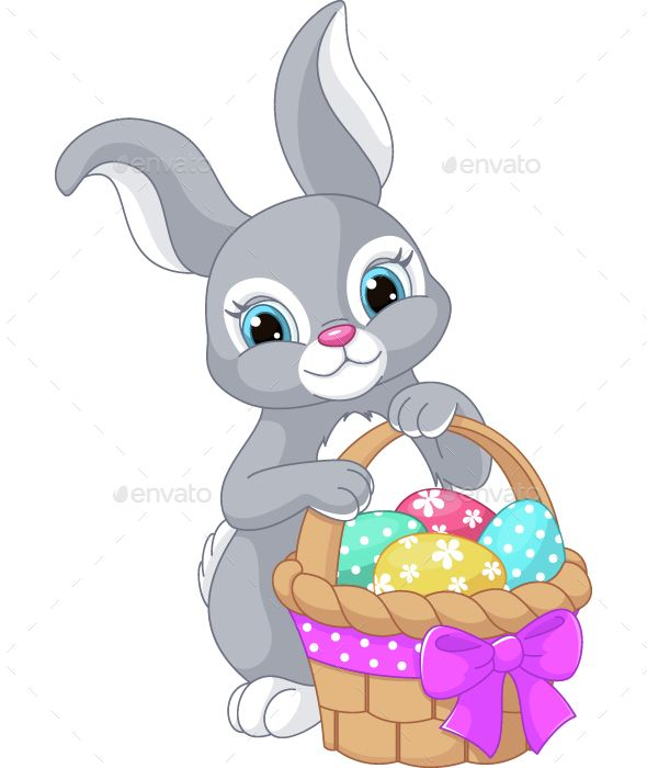 Download Free Graphicriver Easter Rabbit #basket #cartoon.