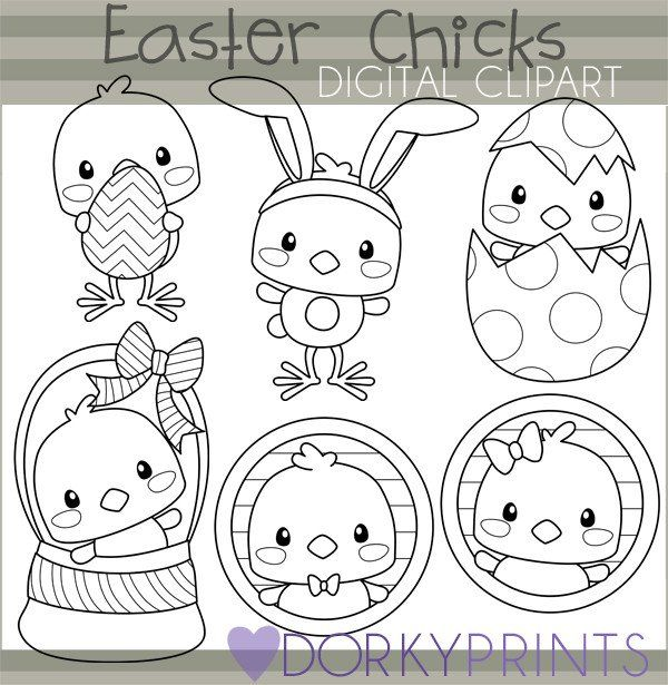 Easter Chicks Black Line Spring Clipart.