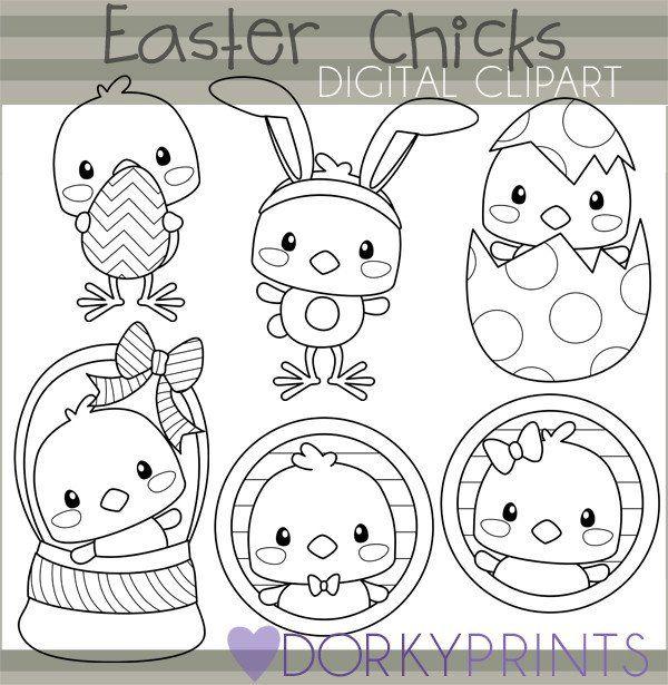 Easter Chicks Black Line Spring Clipart.