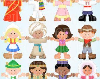 Children of the World Dress Up Digital Clip Art Set.