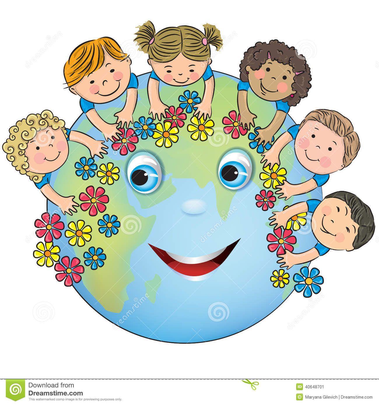 Children Hugging Planet Earth Stock Illustration.
