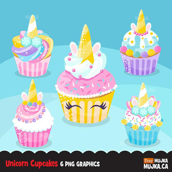 Unicorn cupcake clipart, rainbow cupcakes, baking, cake.