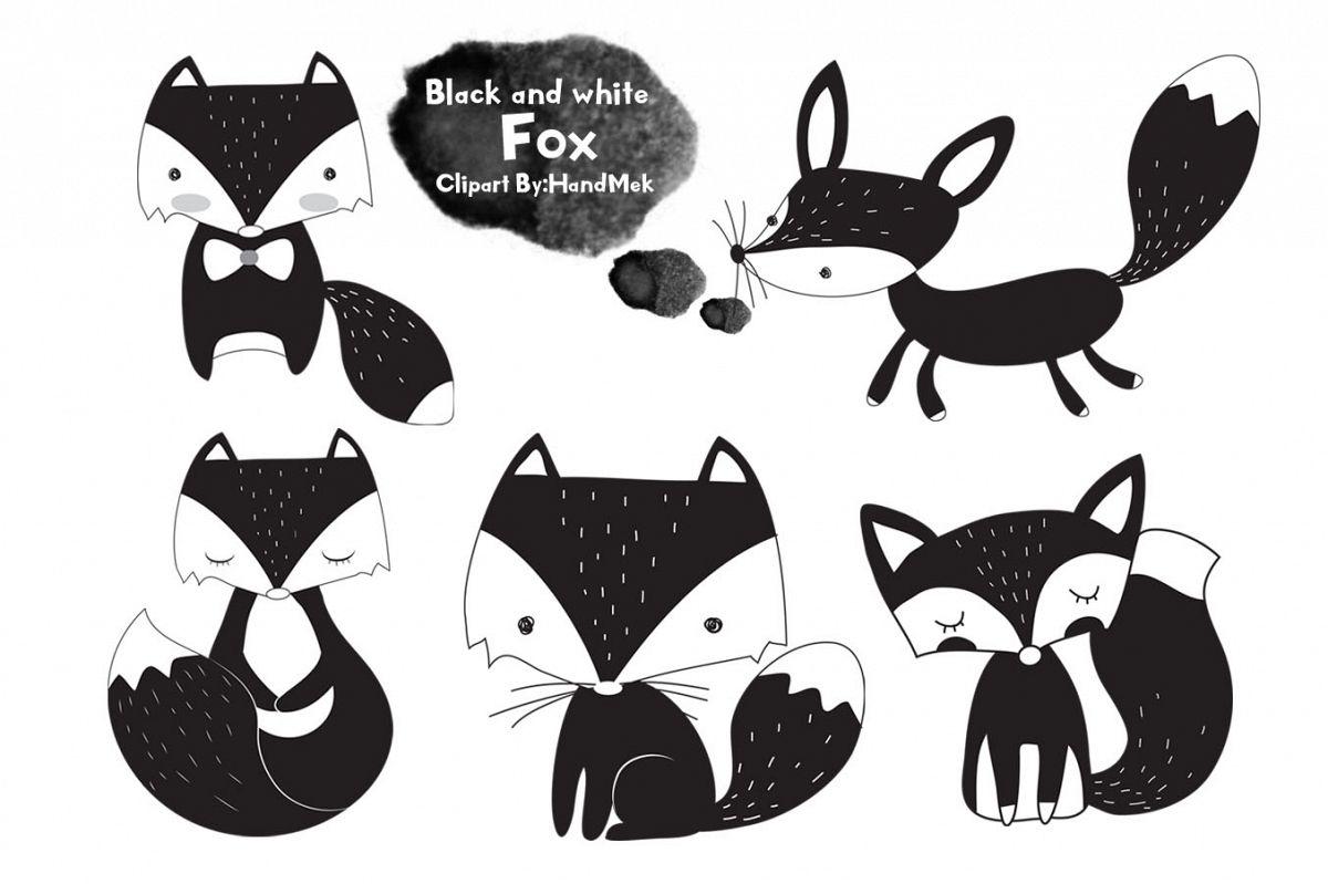 Black and white fox clipart..