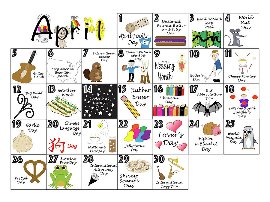 April 2020 Quirky Holidays And Unusual Celebrations Calendar.