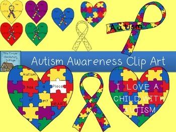Autism Awareness Clip Art Set.