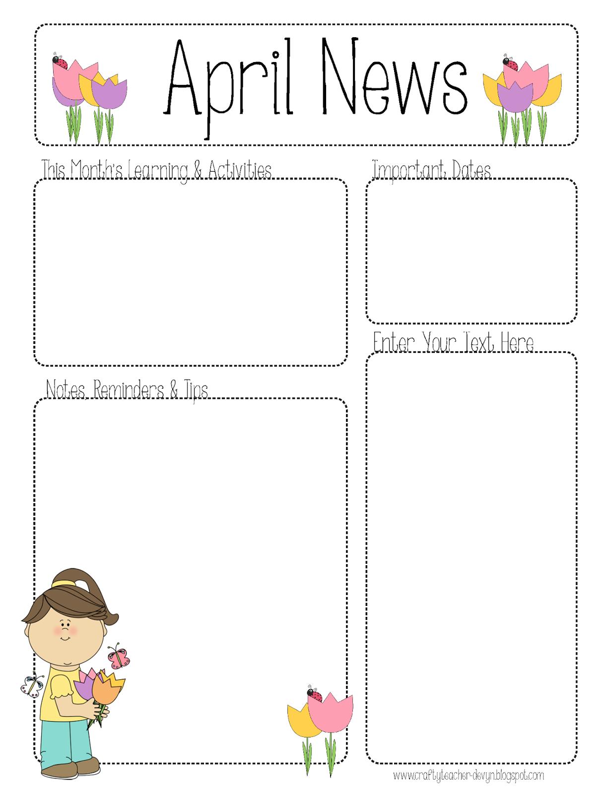 April Newsletter for ALL Grades!.