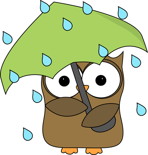 Owl with Umbrella Clipart.