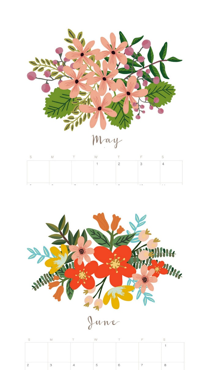 Beautiful Floral 2020 Calendar & Monthly Planner {Free.