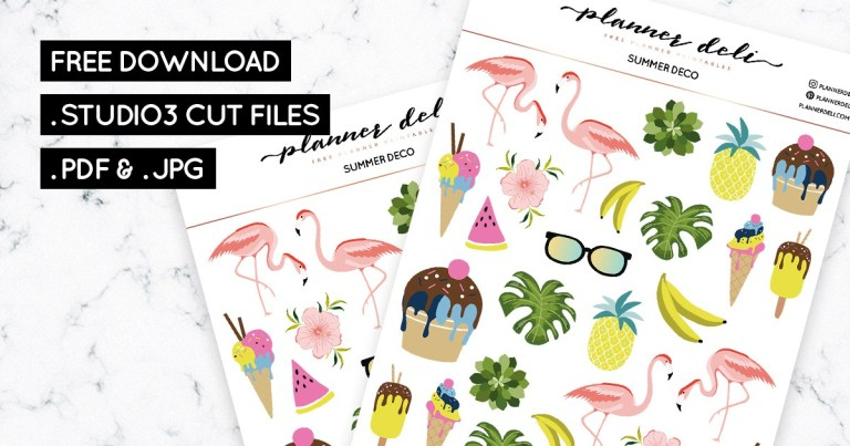 Free Summer Deco Printable Planner Stickers.