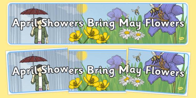 Precursive April Showers Bring May Flowers Display Banner.