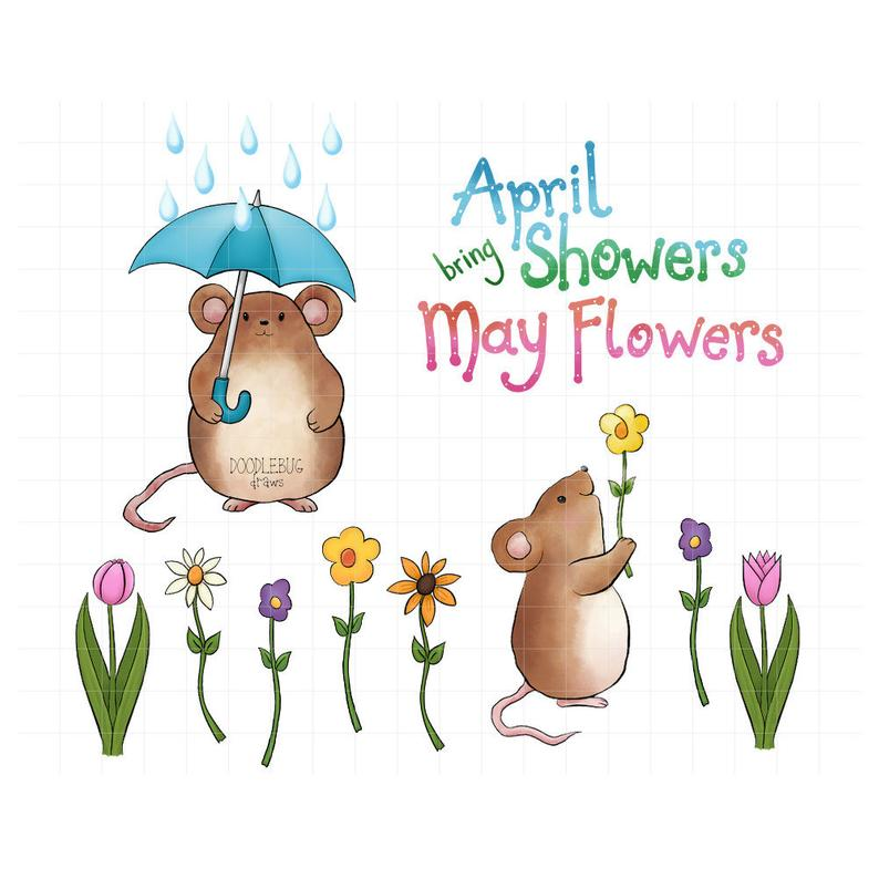 April Showers Bring May Flowers Digital Planner Stickers.
