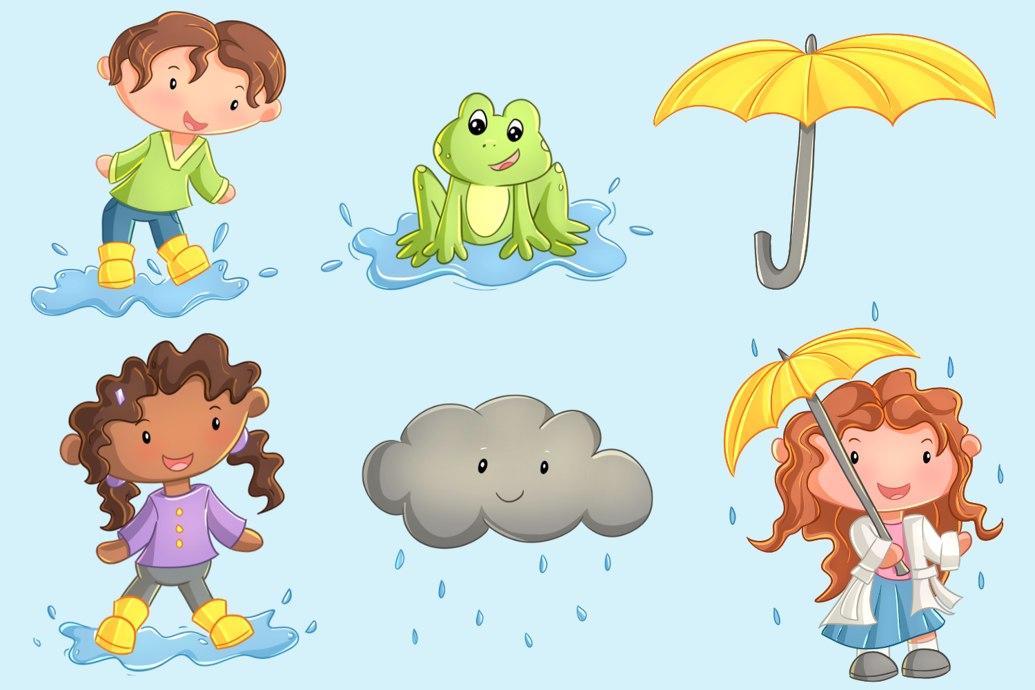 April Showers Clip Art Collection.