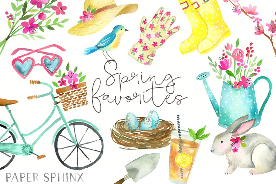 Watercolor Spring Clipart.