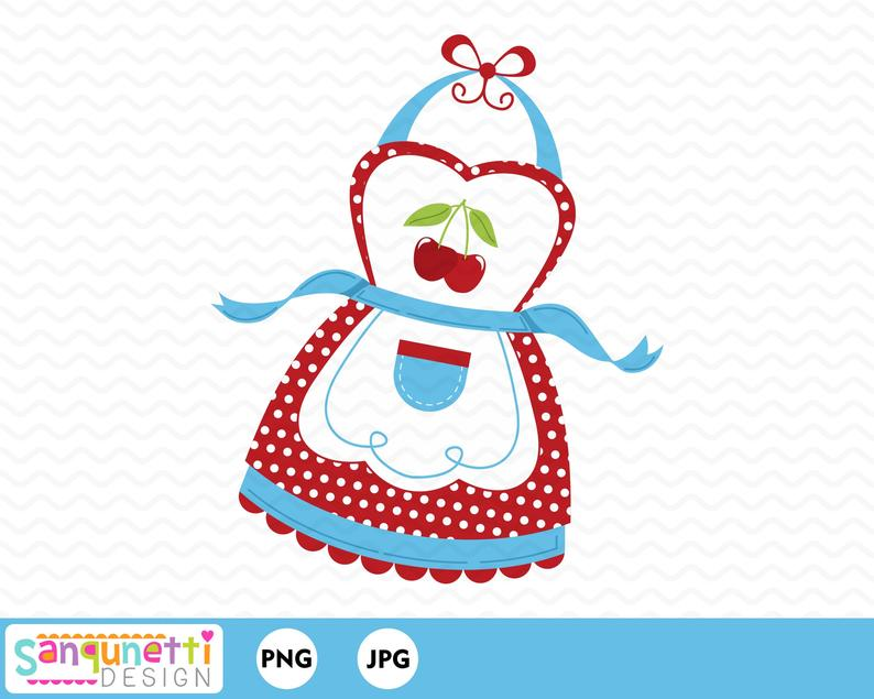 Retro Apron clipart, kitchen digital art instant download.