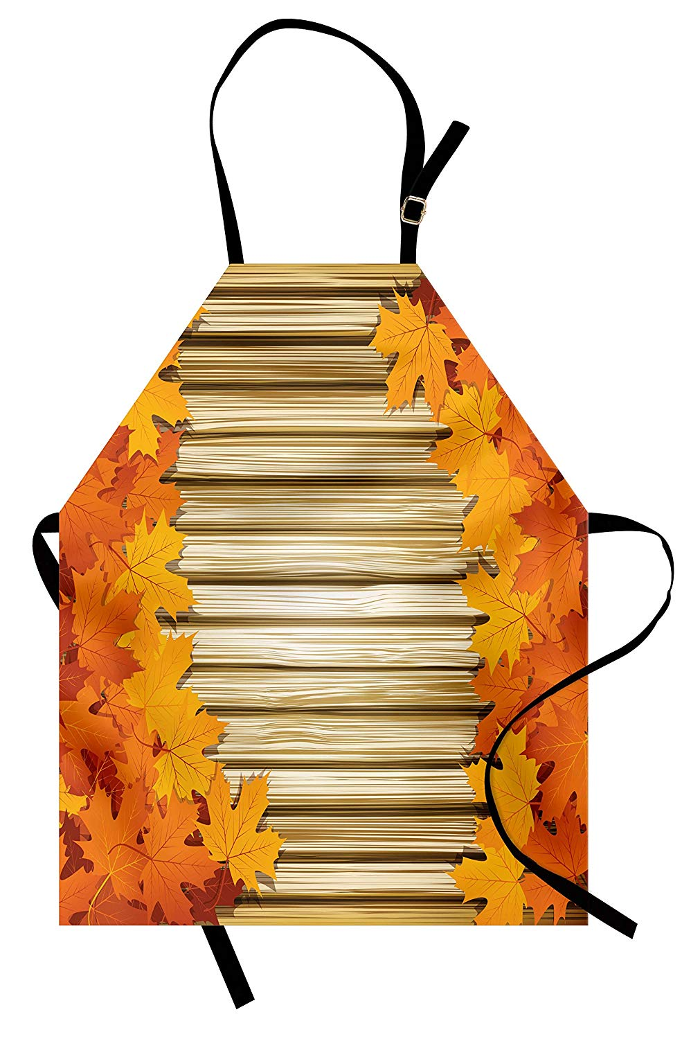 Amazon.com: Ambesonne Fall Apron, Fallen Leaves on Wooden.