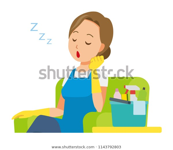 Woman Wearing Blue Apron Rubber Gloves Stock Vector (Royalty.