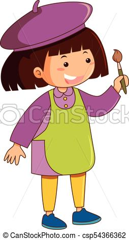 Girl with green apron holding paintbrush.