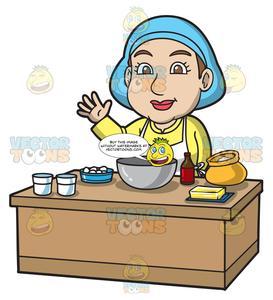 A Woman Preparing To Bake A Cake.