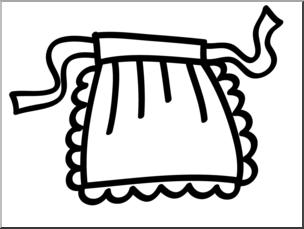 Clip Art: Basic Words: Apron B&W Unlabeled I abcteach.com.