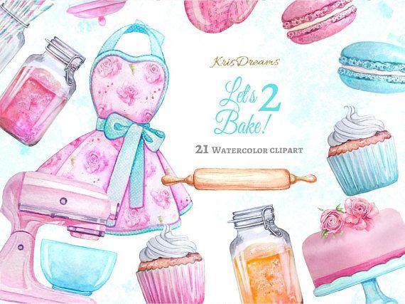 Baking Kitchen Retro Fashion Clip Art Watercolor Clip Art.