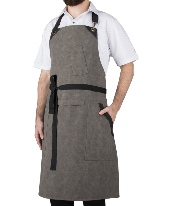 Vegan Leather Bib Apron w/ WFC Logo.