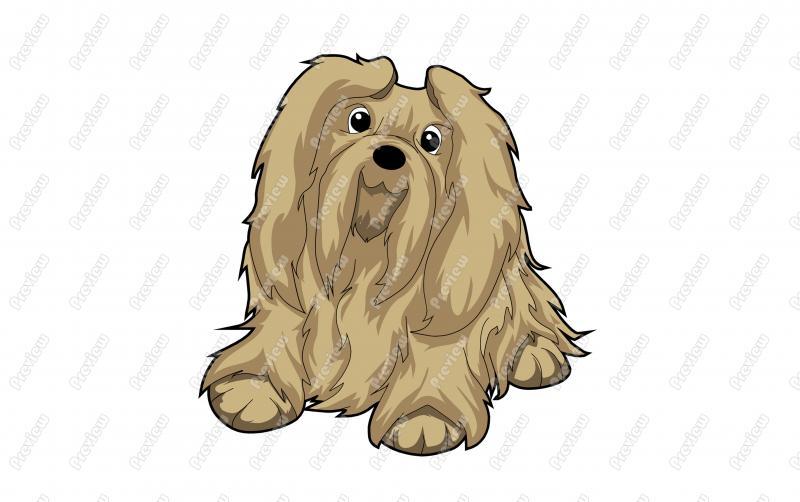 Friendly Lhasa Apso Dog Character Clip Art.
