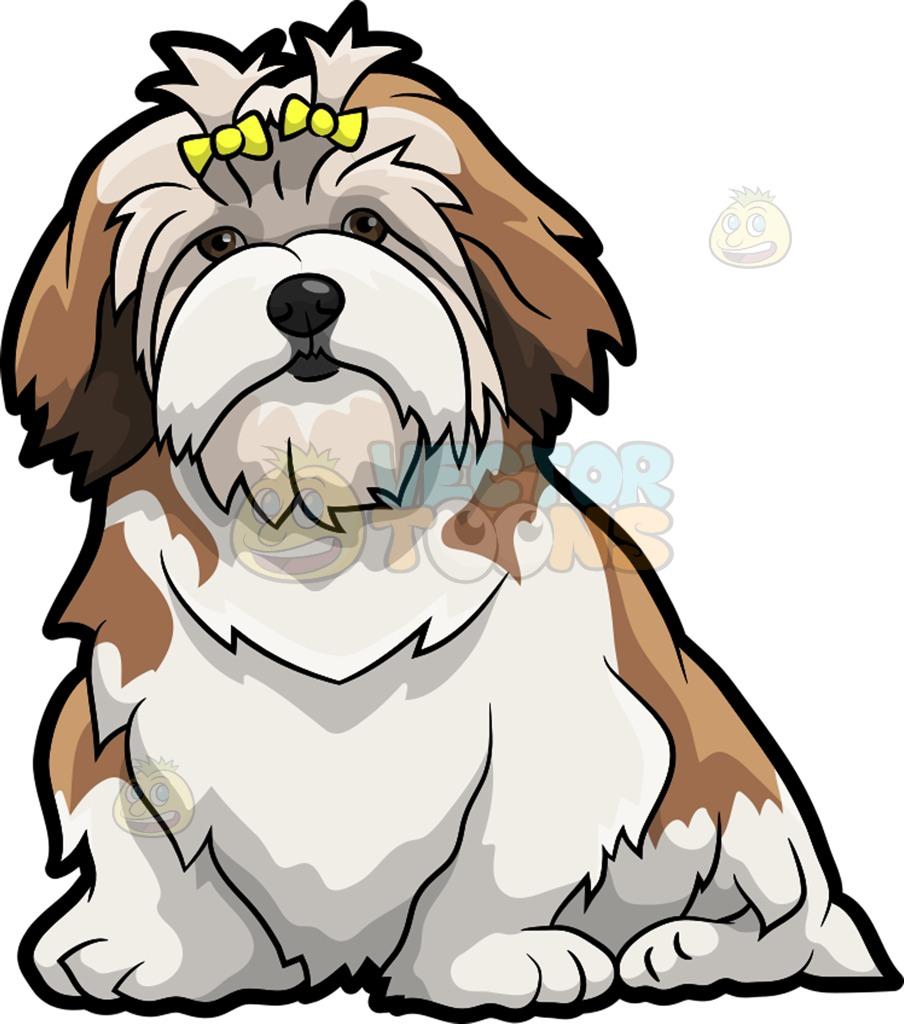 A Pretty Lhasa Apso Pet Dog Cartoon Clipart.