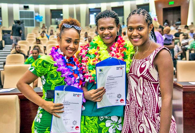APTC students in Vanuatu celebrate success.