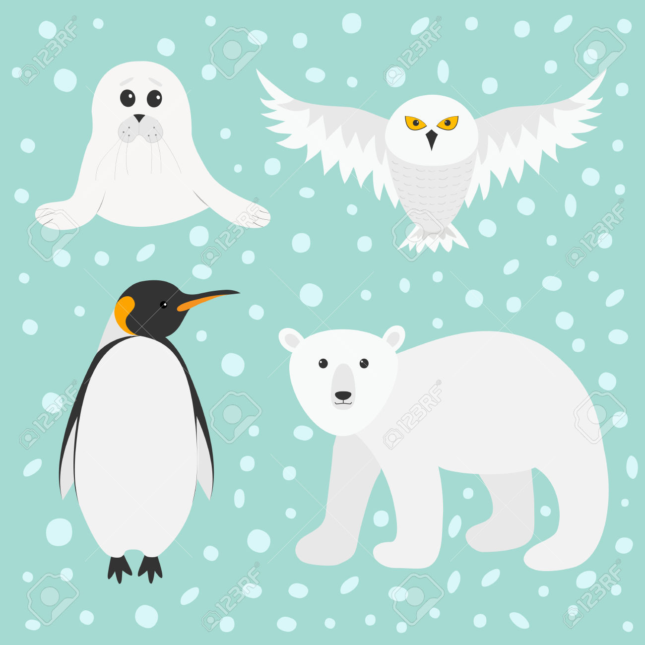Arctic Polar Animal Set. White Bear, Owl, King Penguin Emperor.