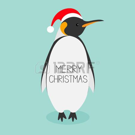 King Penguin Santa Red Hat. Emperor Aptenodytes Patagonicus Cute.