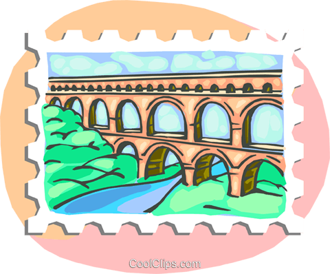 Roman aqueduct Royalty Free Vector Clip Art illustration.