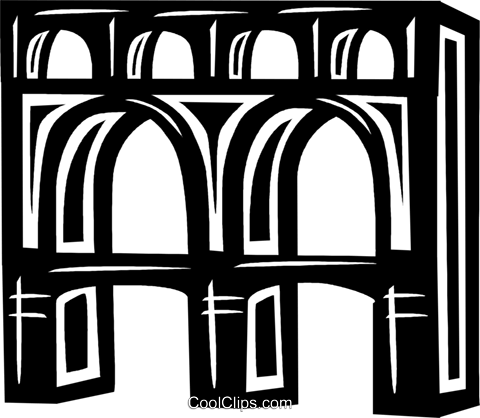 aqueduct in Italy Royalty Free Vector Clip Art illustration.