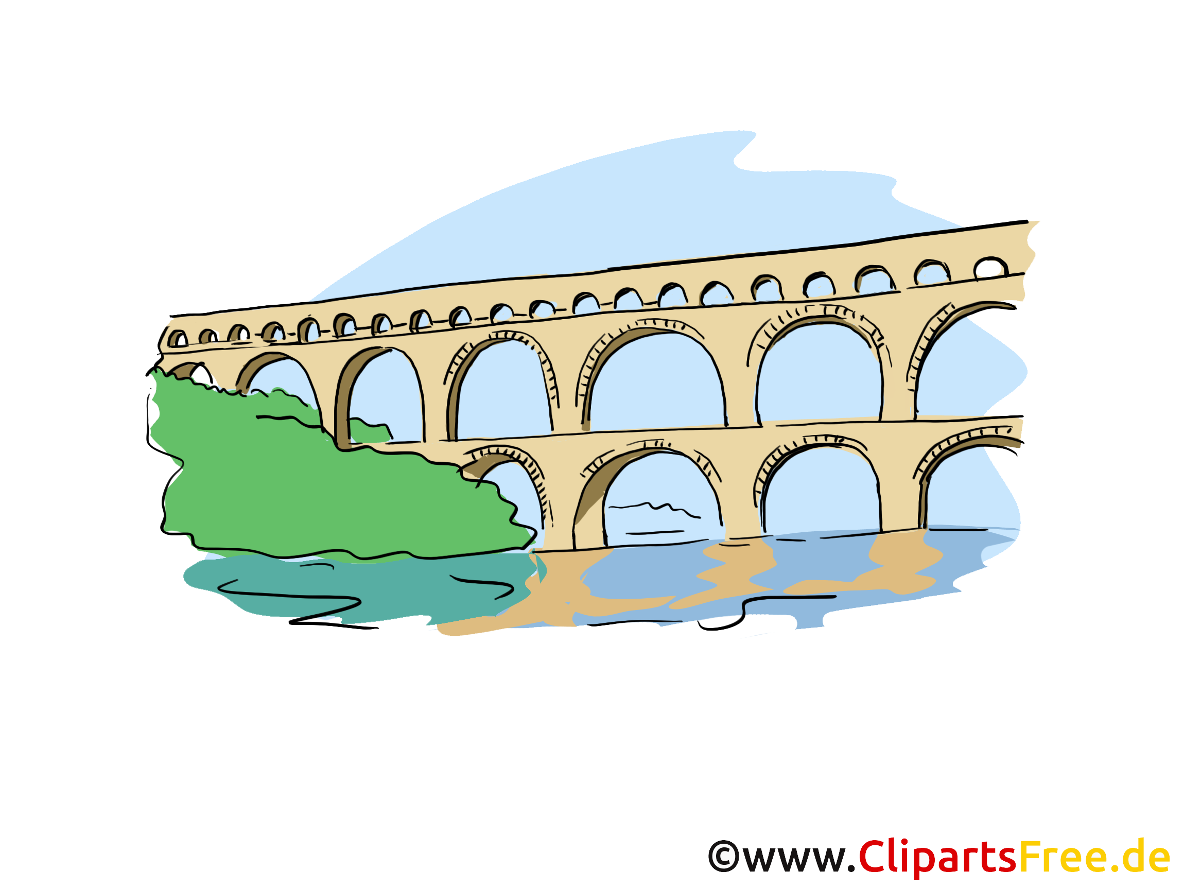 Aqueduct Clip Art, Bild, Cartoon.