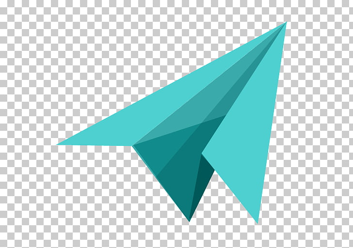 Triangle brand aqua, Paper airplane, green paper plane PNG.