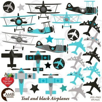 Airplane and Biplane Clipart, Teal and Black, Plane Clipart, Jet, AMB.