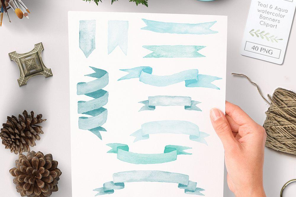 watercolor banner clipart teal and aqua graphics.