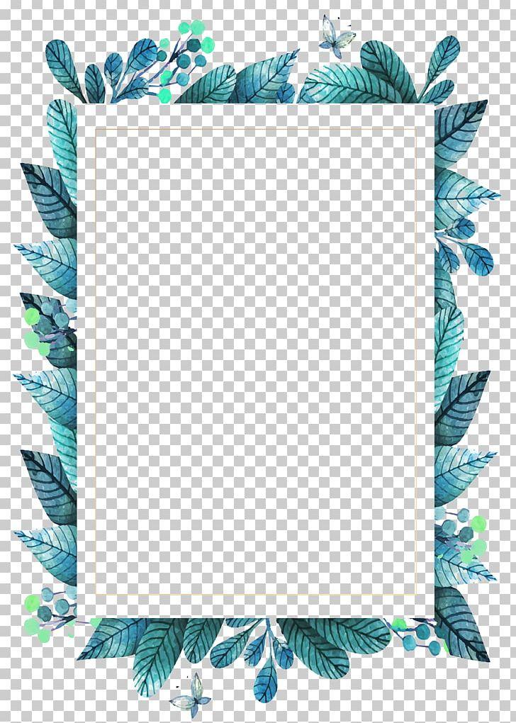 Leaf Frame Green PNG, Clipart, Aqua, Blue, Border Frame.