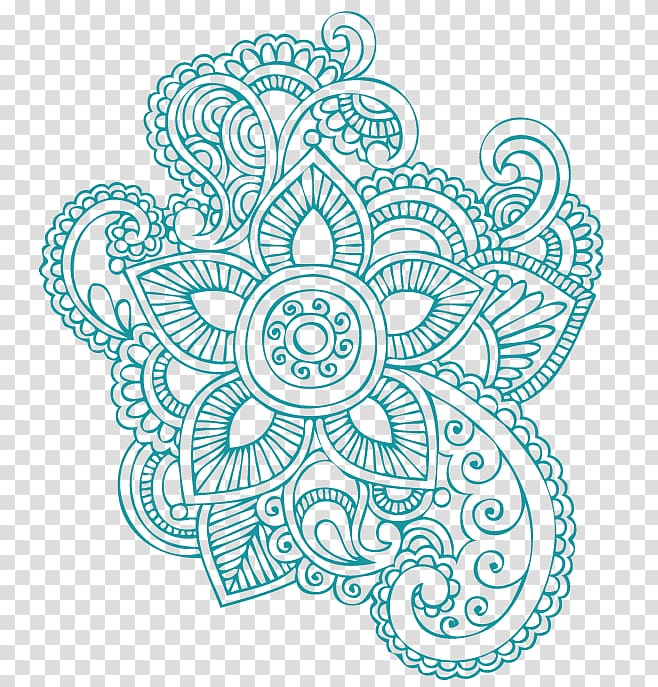 Green floral mandala illustration, Mehndi Tattoo Henna.