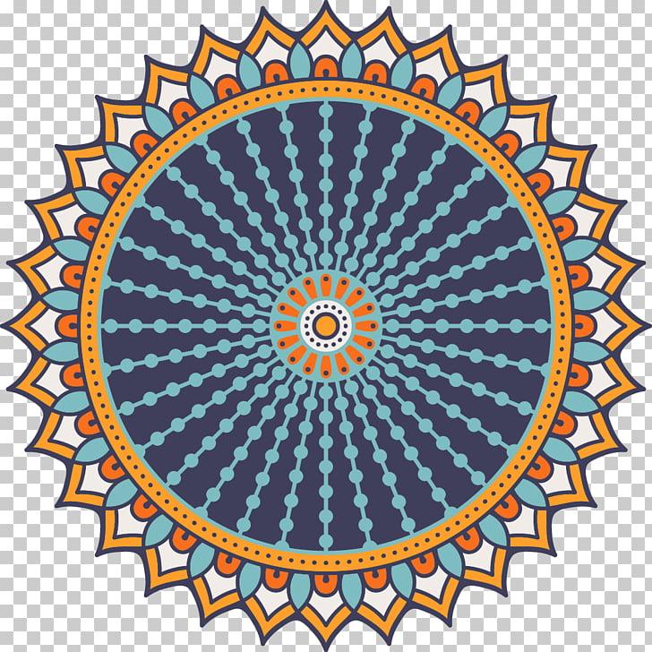 Mictlantecuhtli Symbol Icon, Blue Mandala, teal, orange, and.
