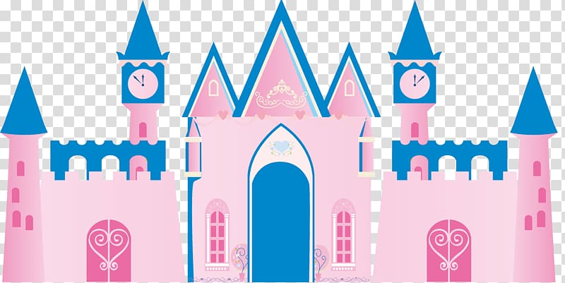 Pink and blue castle illustration, castle transparent.