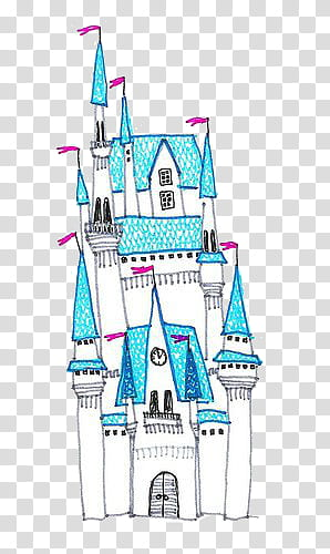 S, white and blue castle animated illustration transparent.