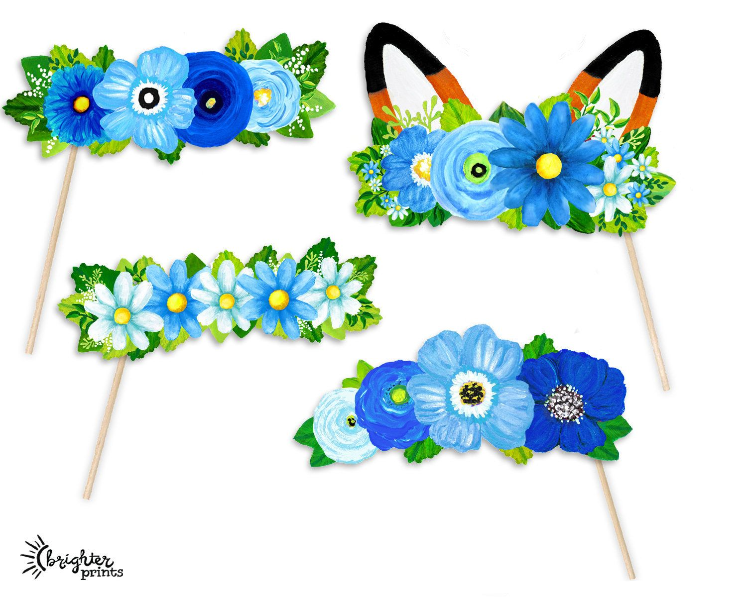 Printable Flower Crown Party Photo Booth Props.
