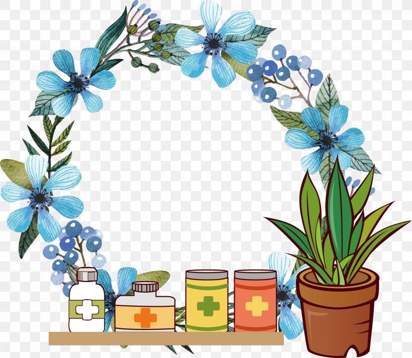 Watercolour Flowers Wreath Blue Clip Art, PNG, 2038x1772px.