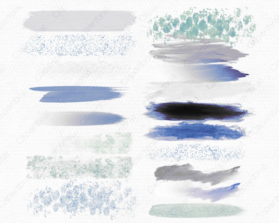 WATERCOLOR BRUSH STROKES Clipart Commercial Use by ClipArtBrat.