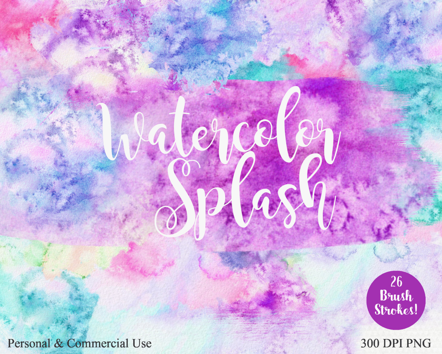 WATERCOLOR PAINT STROKES Clipart Commercial Use Clip art Pink.