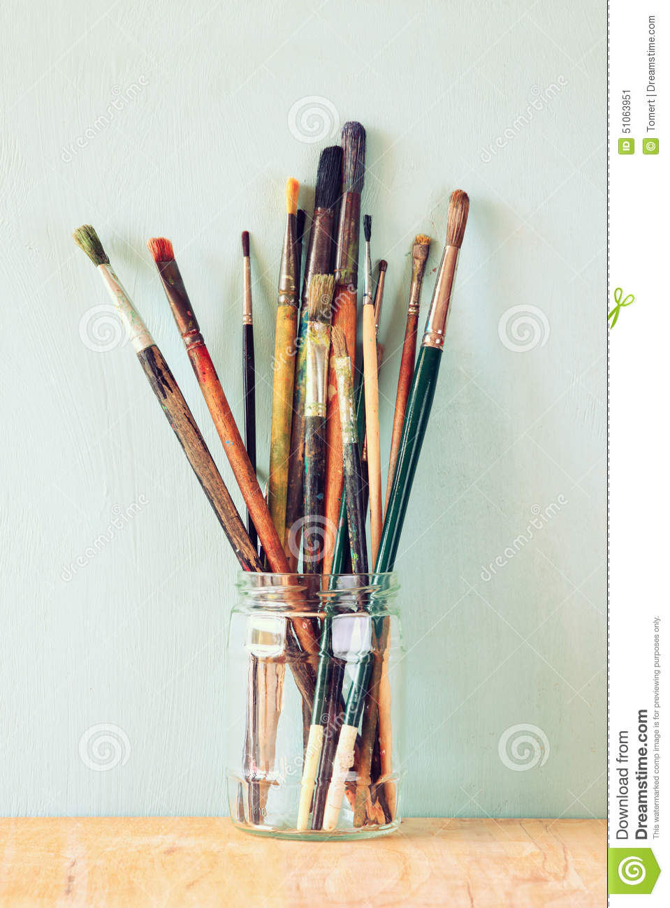 Keywords Paint Brushes In Jar Clipart and Tags.