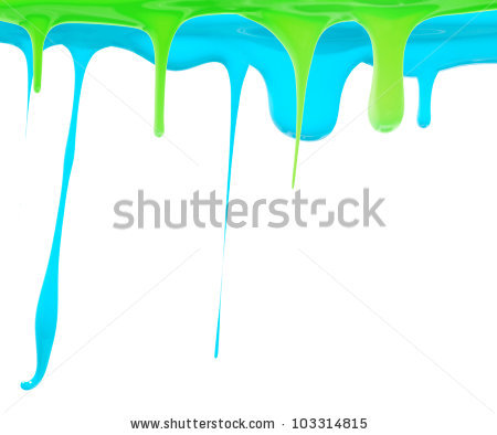 Paint Dripping In Green And Aqua Blue Stock Photo 103314815.